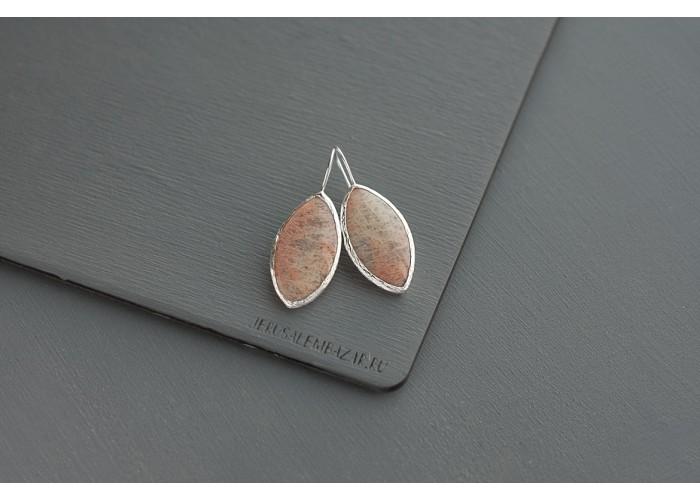 серёжки с листиком плагиоклаза // серебро