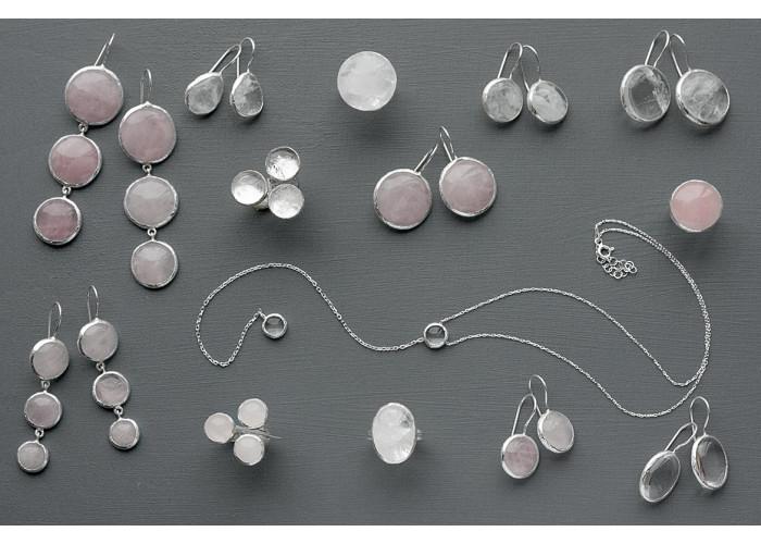 серёжки круглые с розовым кварцем // серебро