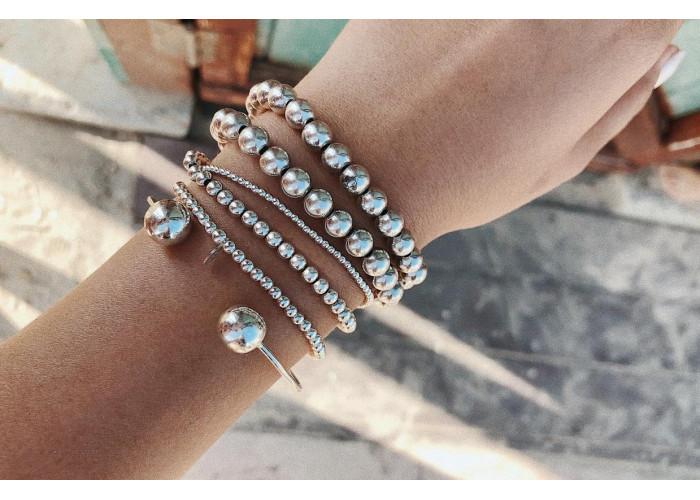 Браслет сплошной с серебряными бусинами 4мм // серебро