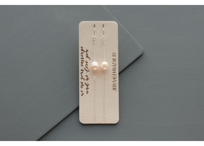 серёжки-цепочки с жемчужиной // серебро