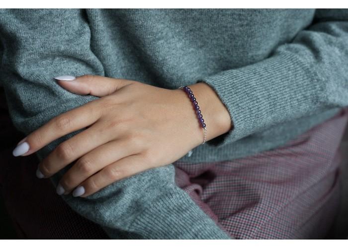 браслет на цепочке с бусинами тёмного аметиста // серебро
