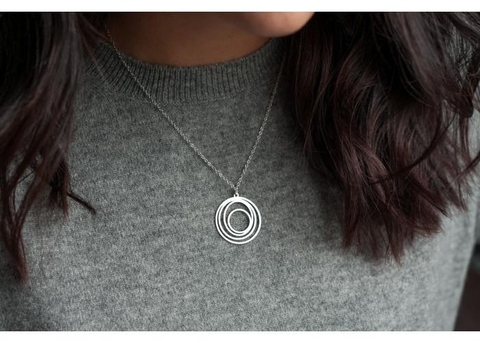 подвеска на цепочке круги // серебро