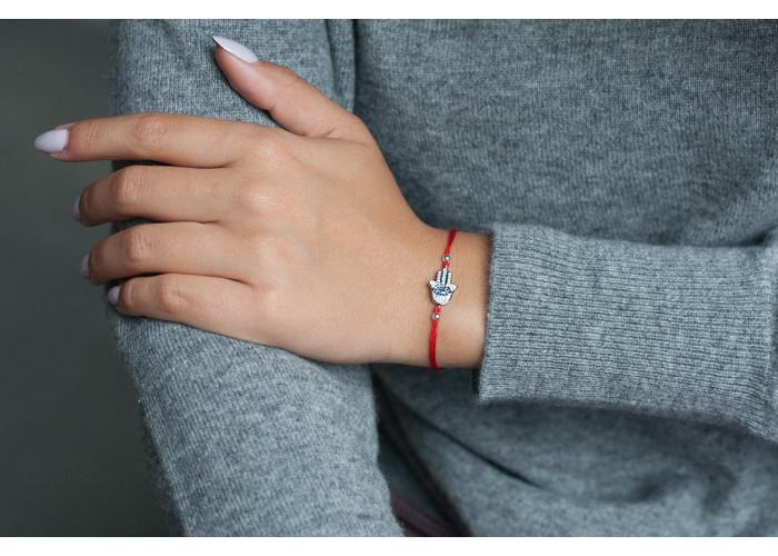браслет на красной нити с хамсой с фианитами // серебро