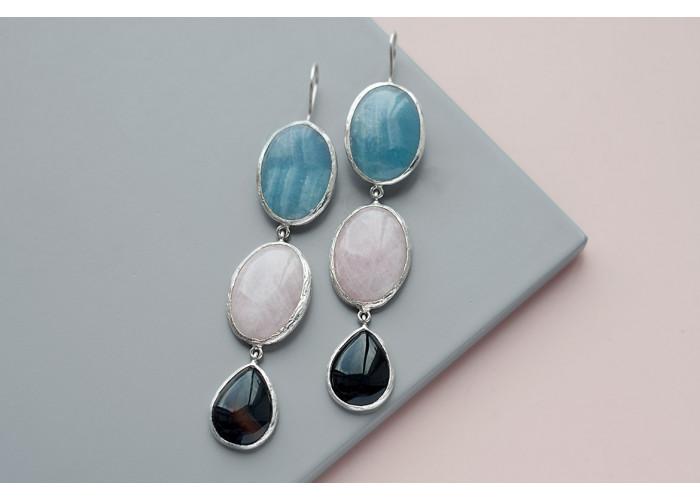 Серёжки с голубым кианитом, розовым кварцем и агатом // серебро