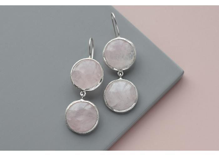 Серёжки с двумя камнями розового кварца // серебро