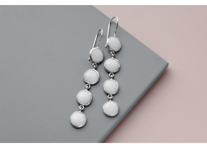 Серёжки с четырьмя камнями перламутра // серебро
