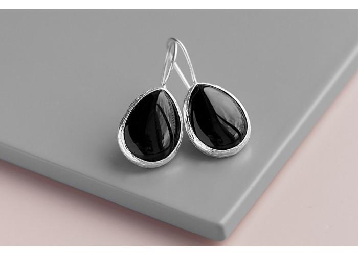 Серёжки с каплей чёрного агата // серебро
