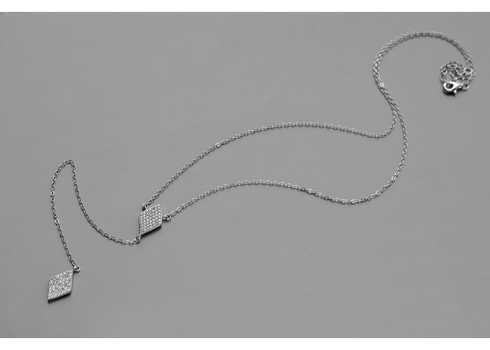 сотуар с ромбами с фианитами // серебро