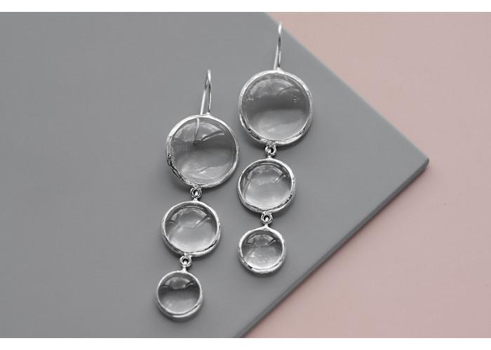 Серёжки с тремя камнями горного хрусталя // серебро