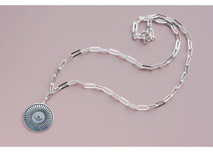 Подвеска на цепочке с глазом // серебро