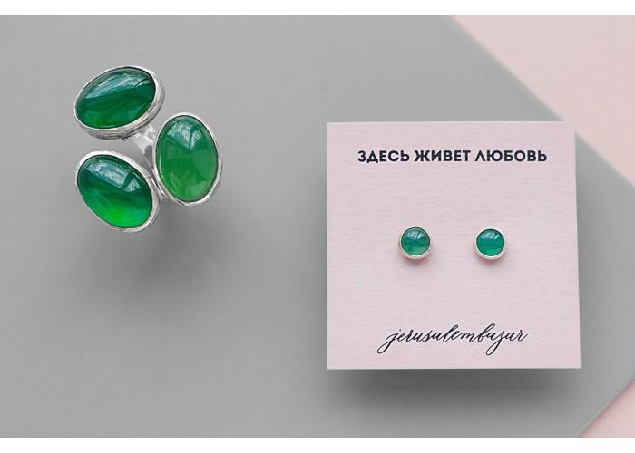комплект: пусеты и кольцо с зеленым жадеитом // серебро