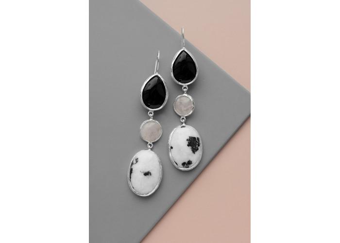 Комплект: серёжки с агатом, мрамором, розовым кварцем и кольцо с мрамором // серебро