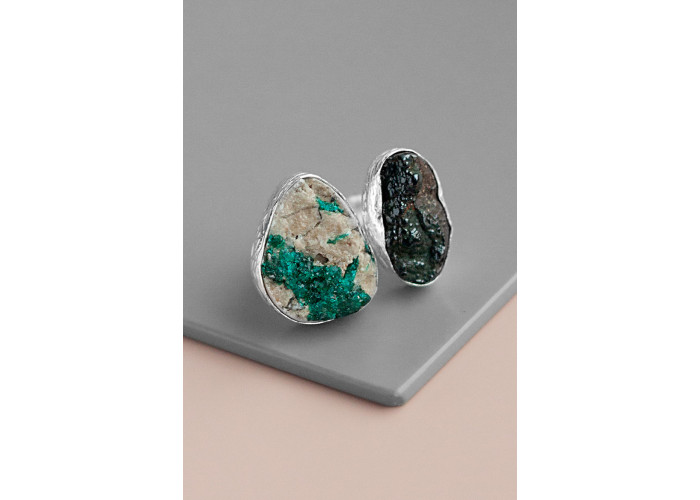 Кольцо с кварцем и амазонитом // серебро
