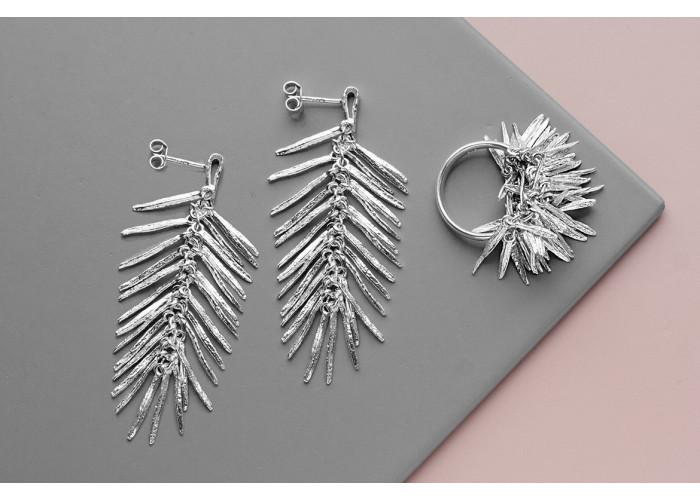 """Комплект: серёжки и кольцо """"Розмарин"""" // серебро"""