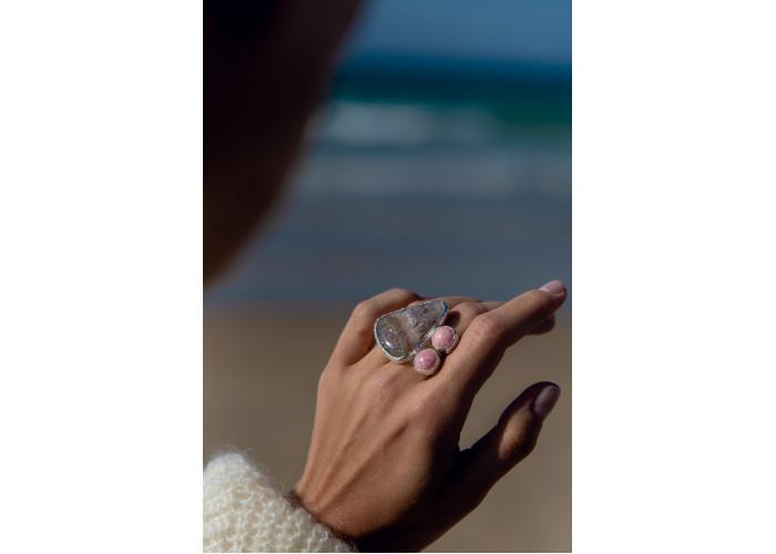 Кольцо с яшмой и родохрозитами // серебро