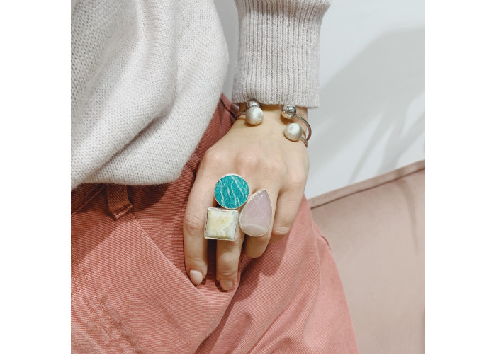 Кольцо с розовым кварцем, агатом и амазонитом // серебро