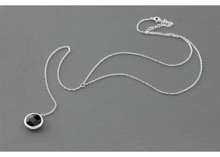 сотуар с чёрным гранёным ониксом // серебро