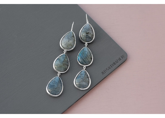 серёжки с каплями лабрадорита // серебро