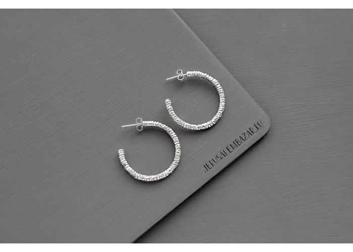 Предзаказ. серёжки-колечки зернистые // серебро