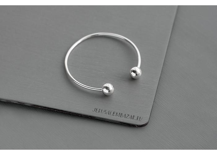 браслет с двумя шариками // серебро