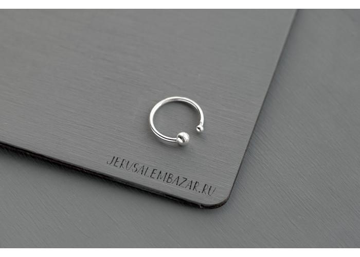кольцо с двумя разными шариками // серебро