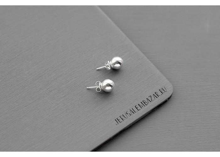 серёжки-пусеты с шариком // серебро