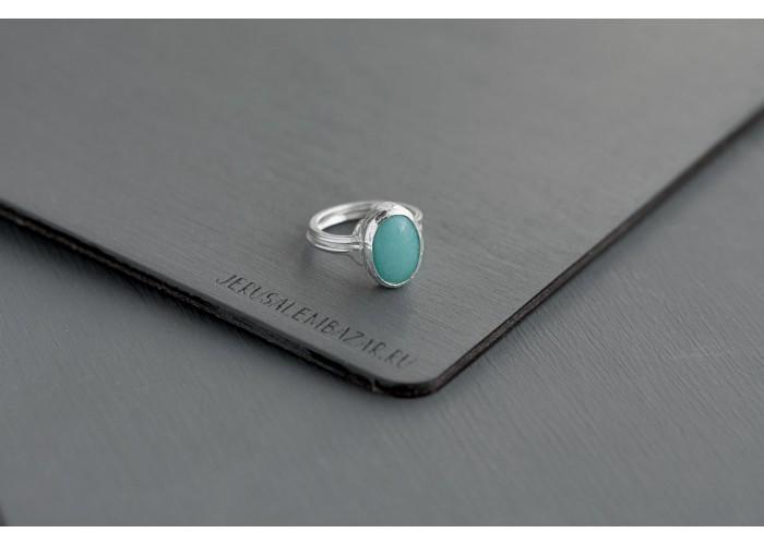 кольцо с овальным амазонитом // серебро