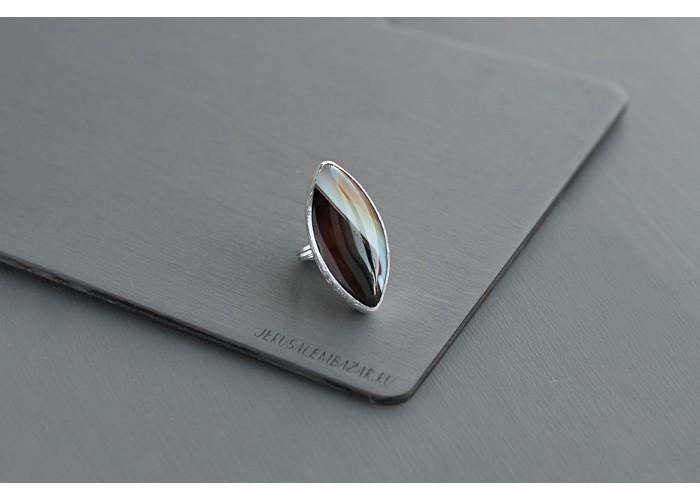 кольцо с листиком агата // серебро