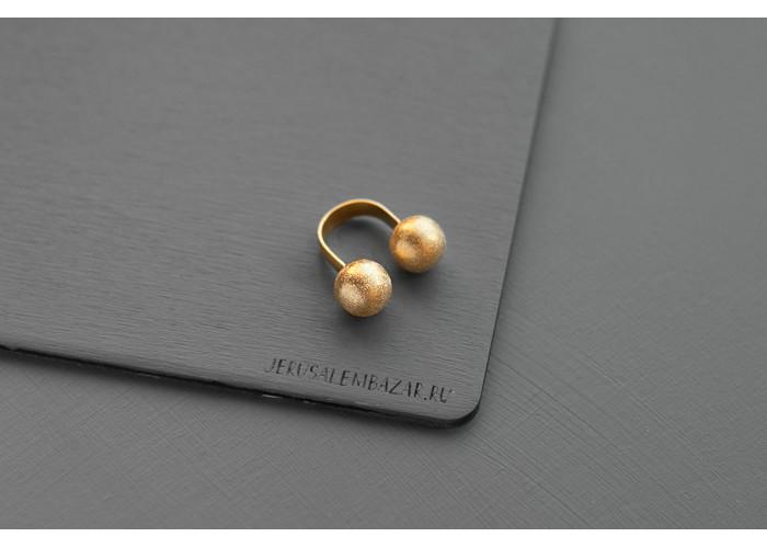 Кольцо с двумя шариками // позолота