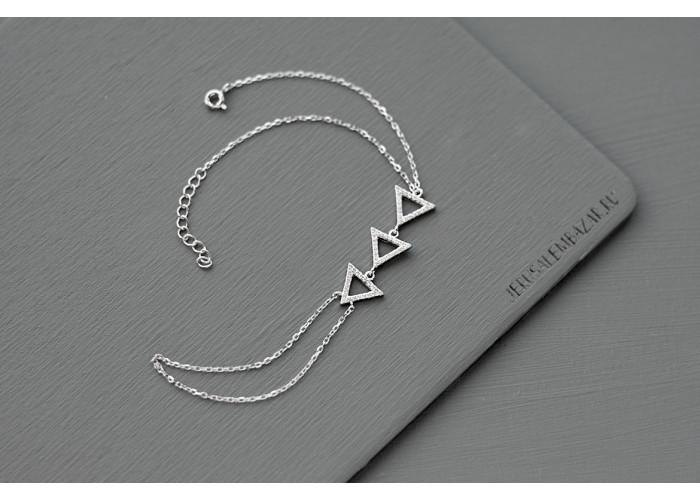 браслет-слейв с треугольниками из фианитов // серебро