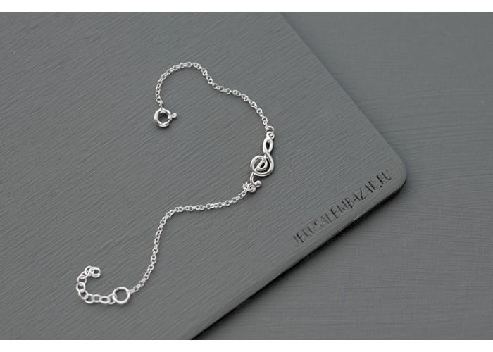 браслет на цепочке со скрипичным ключом // серебро