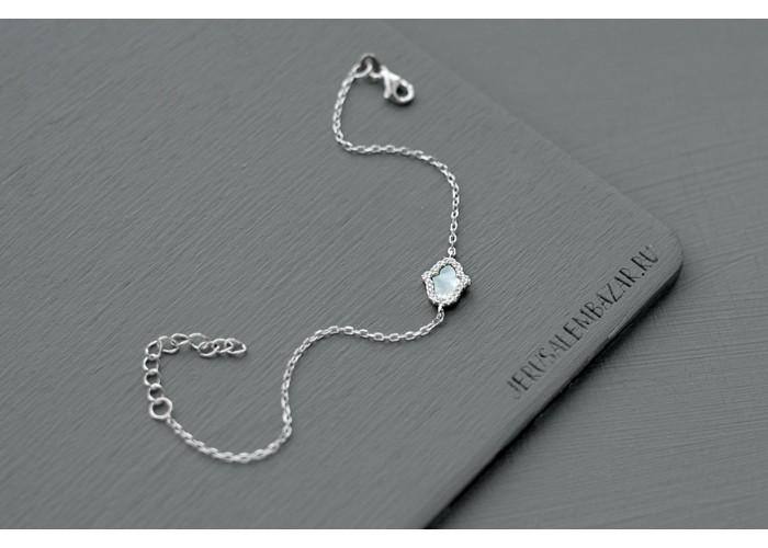 браслет с перламутровой хамсой с фианитами // серебро