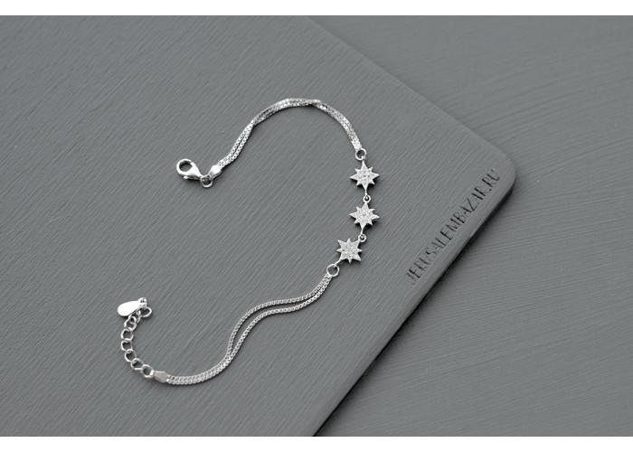 браслет со звёздочками из фианитов // серебро