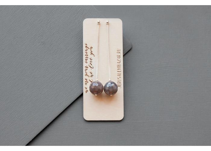 серёжки-пины с бусинами гранёного дымчатого кварца // серебро