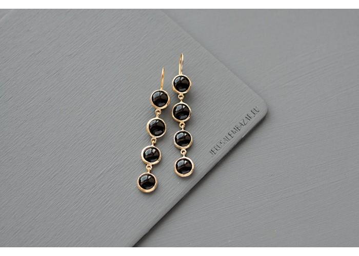 серёжки с камнями чёрного агата // позолота