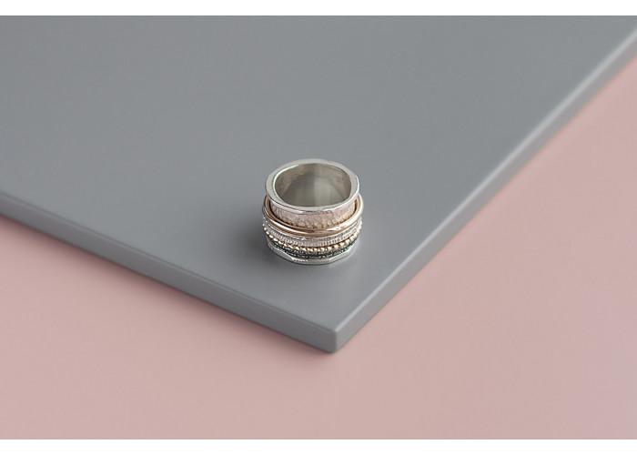 Кольцо-спинер максимализм // серебро с голдфилдом