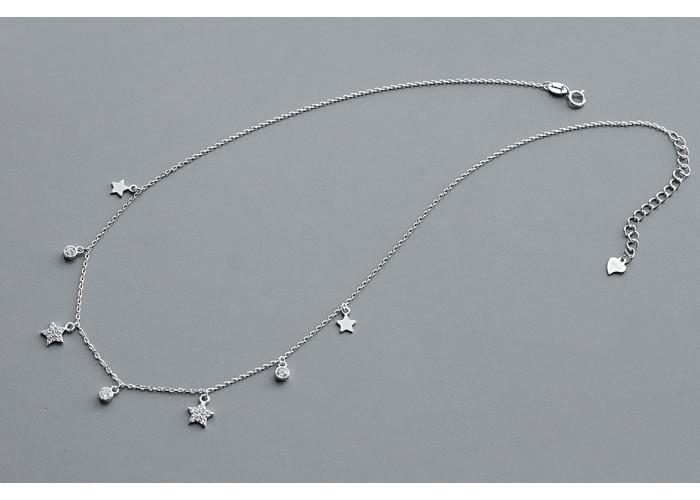 Подвеска со звёздочками и фианитами // серебро