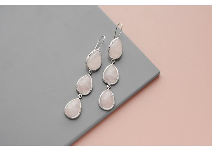 Серьги с каплями розового кварца // серебро