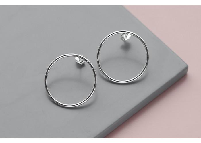 Серёжки-пусеты с большим кругом // серебро