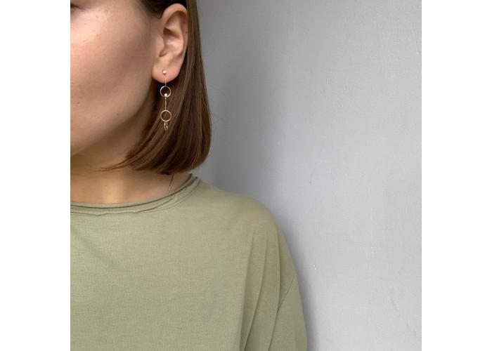Серёжки-цепочки с кругами и фианитами // золото