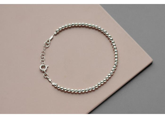 Браслет сплошной с серебряными бусинами 3 мм // серебро