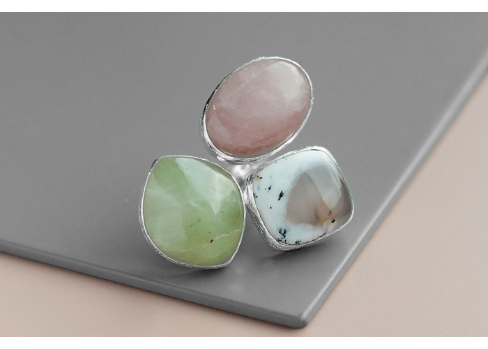 Кольцо с везувианитом, агатом и розовым кварцем // серебро