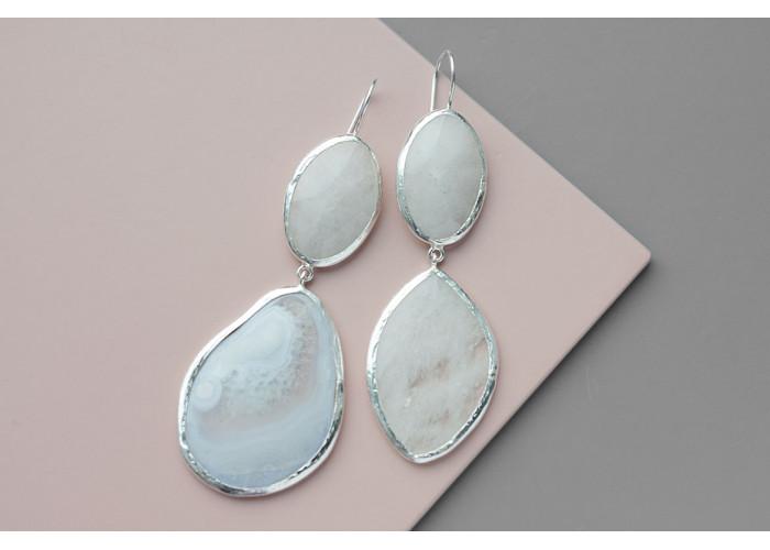 Серёжки с кварцем и белым агатом // серебро