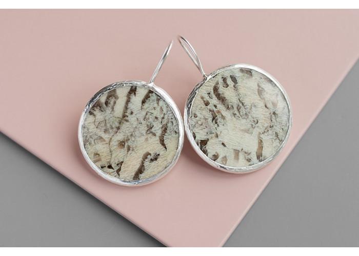 Серёжки круглые с пегматитом // серебро