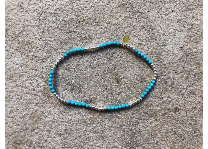 браслет с серебряными бусинами и бирюзой // серебро