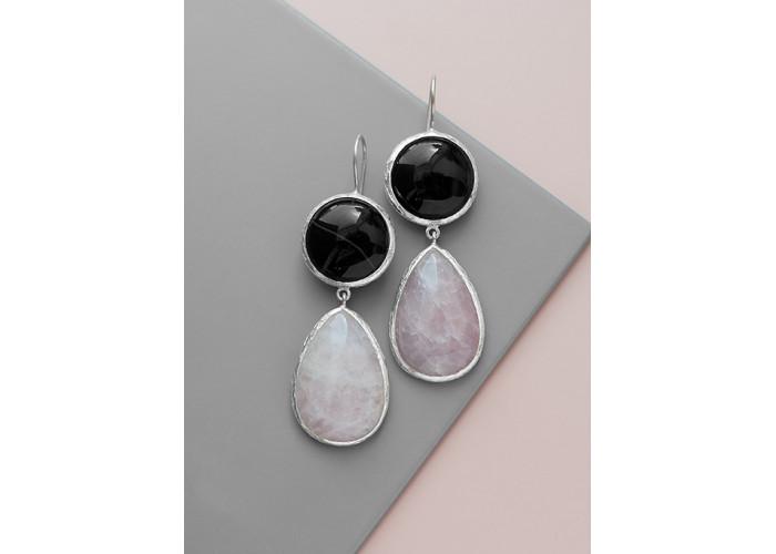 Серьги с чёрным агатом и розовым кварцем // серебро