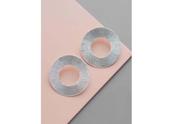 Серёжки-гвоздики диски // серебро