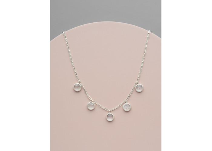 Ожерелье с круглыми горными хрусталями // серебро
