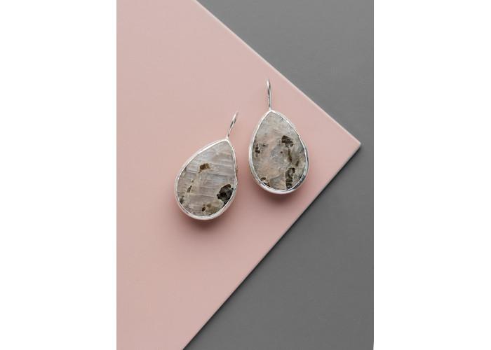 Серьги с лунным камнем  // серебро