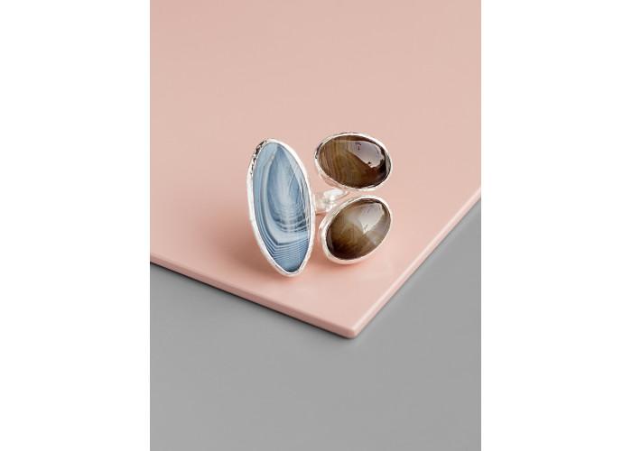 Кольцо с тремя агатами // серебро